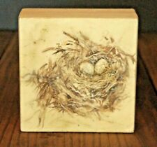 Small Encaustic Wax Gold Brown Painting of a Bird Nest with Eggs on Wood Block