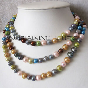"""50"""" 7-9mm Multi Color Off Round Freshwater Pearl Strand Necklace"""