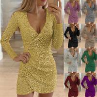 Damen Pailletten Partykleid Abendkleid Ballkleid Minikleid Langarm Clubwear L/P