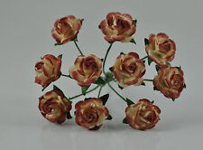 """Mulberry Paper Flower Tiny Rose Picotee Creamy Copper 5/8"""" 15mm miniature brown"""