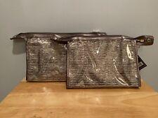 ULTA silver Cosmetic Make up Makeup Case Bag Pouch Metalic stripe Clear set lot