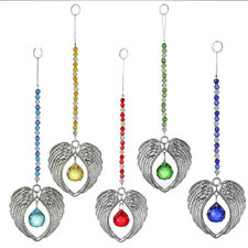 Set 5 Crystal Angel Wing Pendant with Crystal Ball Hanging Suncatcher Home Decor