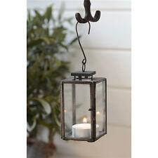 Mini Glass & Metal Black Hanging Lantern / Pillar Candle Holder by Ib Laursen