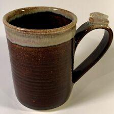 VINTAGE HEALING TOUCH POTTERY COFFEE CUP MUG DRIP GLAZE POLISHED STONE ON HANDLE