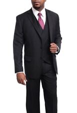 Arthur Black Classic Fit Black Pinstriped Two Button Three Piece Wool Suit