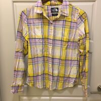 The North Face Womens Yellow Purple Plaid Button Up LS Top Sz M