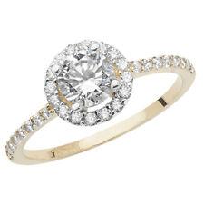 9ct Yellow Gold Ladies Cubic Zirconia Round Halo Design Ring, Sizes J to S (904)