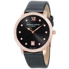 Frederique Constant Slimline Black Dial Leather Strap Ladies Watch FC220G4SD34