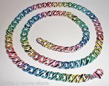 "18"" Rainbow Zebra Print Steel Curb Chain Necklace w/ Lobster Claw Clasp"