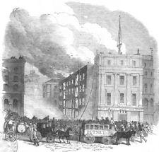 LONDON. fire, Tooley St, Southwark, , antique print, 1851