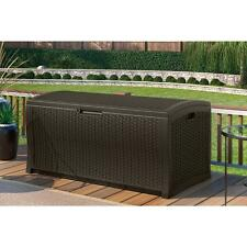 Extra Large Plastic Wicker Deck Box Outdoor Container Storage Garden Patio Chest