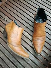 Paul Green Cowboy Leder Stiefel Stiefeletten Booties braun Western Ziernähte 38
