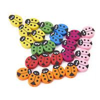 18 Pcs Children Wooden Ladybug Beads C2D3