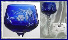 Traube COBALT BLUE Wine Goblet Glass Hock CUT TO CLEAR CRYSTAL Lausitzer Germany