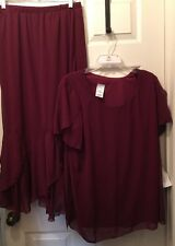Roamans 16W Maroon  2 Piece Skirt & Top Career Business Outfit