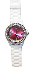 Nurse-Medical Pink Ribbon Metallic Face Silicone Watch