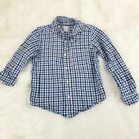 Carters Boys Shirt Size 5 Blue White Tattersall Long Sleeve Button Down o1147