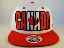 Canada Zephyr Backdrop Snapback Hat Cap White Red