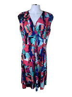 Jump size L V Neck Cap Sleeved Colourfull Fit N Flare Midi Lgth Dress Poly Elast