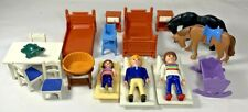 Playmobil Dollhouse Turtle 1995 Figures Child Horse Table Bed Lot of Furniture