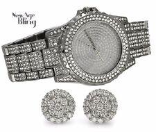 Iced Watch Earring Combo Set Silver Tone Rapper Hip Hop Fashion