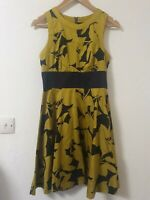 French Connection Mustard Green Abstract Flare Dress Size 8