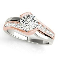 14k WHITE & ROSE GOLD DIAMOND SEMI-MOUNT ROUND SWIRL MODERN ENGAGEMENT RING