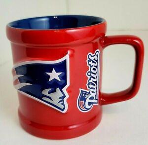 3D New England Patriots NFL Ceramic Red & Blue Coffee Cup/Mug w/ Hologram - NEW