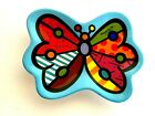Romero Britto Colorful BUTTERFLY Teabag Holder/Spoon Rest Blue Rim New in Box
