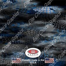 """Chameleon Hex 2 Blue Wrap Vinyl Truck Camo Car SUV Real Camouflage 52""""x6ft"""