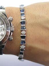18kt Gema Zafiro Azul & Diamante Oro Blanco Tenis Brazalete 5.50Ct 17.1cm