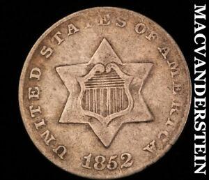 1852 Three Cent Silver-Very Fine Scarce Better Date #Z2647