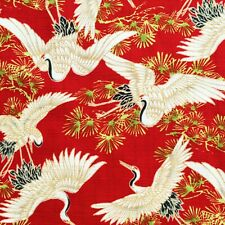 Japanese cranes fabric, heron, stork, birds, red, oriental cotton, chinese