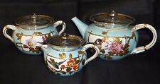Rare Antique Aesthetic Movement Japonesque Tea Set with Silver Plated Fittings