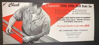 Vintage Advertising Blotter The Carpenter Steel Company Indiana Red Black White