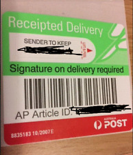 20 X Aust Post - Signature On Delivery Tracking Label for Parcel/large letter