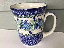 NEW C.A. Polish Pottery 16 oz Bistro Mug-Wild Indigo