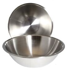 SET OF 2 - Large 13 1/4 Inch Wide Stainless Steel Flat Rim Flat Base Mixing Bowl
