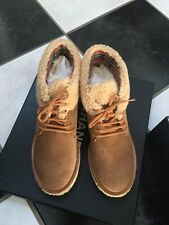 NIB 100% AUTH Chanel 15A G31083 Suede Cal Brown/Beige Lace Up Boots 37.5