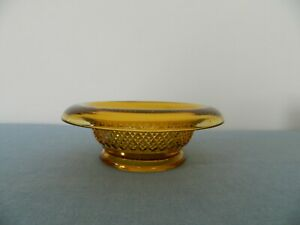 Vintage Glass Dish  Amber Depression Glass Candy Dish Rolled Edge Brown Tone