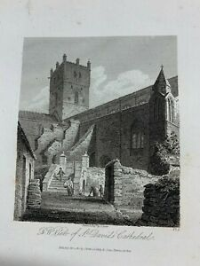 """1814 NORTH WEST VIEW OF ST DAVIDS CATHEDRAL ENGRAVED PRINT 8.75"""" x 5.5"""" (LL)"""