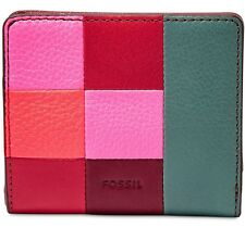 Fossil Emma RFID Patchwork Mini Wallet Pink Multi Color BNWT