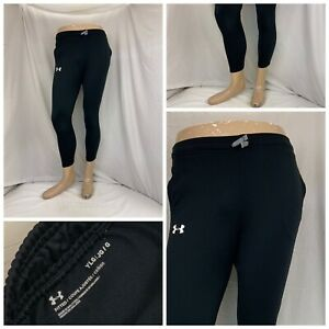 Under Armour Leggings Youth L Black Running 100% Poly Pockets LNWOT YGI S0-302