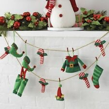 NEW G3720079 Raz ELF CLOTHES AND CANDY CANE Christmas GARLAND 6' Long NEW WOW!