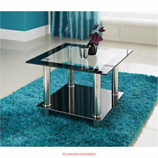 Kingston Clear Black 2 Tier Glass Side Lamp Coffee End Table With Chrome Legs