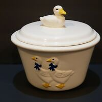 Vintage Duck  Blue Bow Bowl With Lid