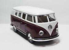 "1962 VW Classic Bus 5"" Die Cast w/Pl Bk Power & Opening Drs Burgandy & White 22"
