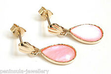 9ct Gold Pink Mother of Pearl Teardrop Earrings Gift Boxed Made in UK