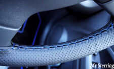 FITS NISSAN PATROL BLACK PERFORATED TOP LEATHER STEERING WHEEL COVER BLUE STITCH