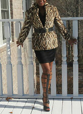 Spotted & multicolor tiger design brown Mink Fur coat jacket stroller bolero S-8